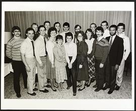 Group portrait of eighteen students at an awards luncheon, Washington University School of Medicine.