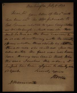 Joseph Lovell, to W. Beaumont, regarding: delay in transfer to Plattsburgh. July 8, 1833.