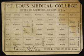 St. Louis Medical College order of lectures, session 1878-79.