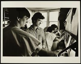 Students examining x-rays, Department of Anatomy, Washington University School of Medicine.