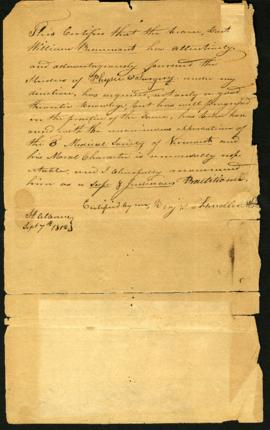 Benjamin Chandler [St. Albans, VT]. Letter of recommendation for W. Beaumont. September 7, 1812.