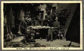 Five unidentified members of Base Hospital 21 drinking at a table.