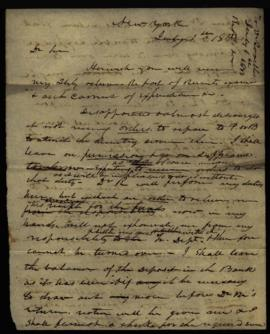 Draft of letter from W. Beaumont [New York, NY] to Joseph Lovell, Surgeon General's Office [Washi...