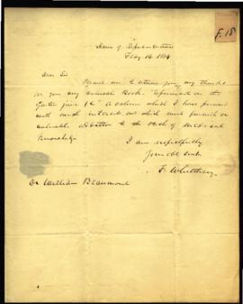 F. Whittlesey, House of Representatives [Washington, DC] to W. Beaumont [Washington, DC] regardin...