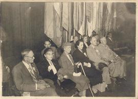 View of Mr. Suntzeff, Valentina Suntzeff, Alice Cowdry, and unidentified men and women seated in ...