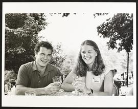 Students Robert Fuhlbrigge and Anne Johnston at a freshman student party at St. Charles Winery, W...