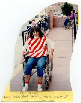 Lisa Pazak riding a wheelchair down a ramp, Washington University School of Medicine, Program in ...