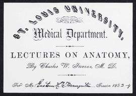 St. Louis University Medical Department order of lectures, session 1854-55.