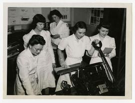 Five Occupational Therapists making prints, Wakeman General and Convalescent Hospital, Camp Atter...
