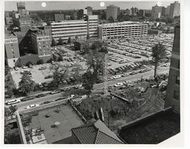 Aerial view of a parking garage under construction, St. Louis Children's Hospital.