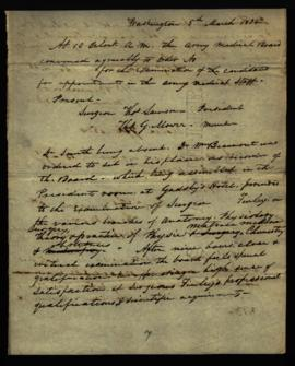 Draft of minutes of Army Medical Board [Washington, DC] by W. Beaumont, member and recorder, rega...