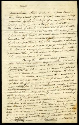 W. Beaumont, memo preparatory to drafting memorial to Congress requesting reimbursement for exper...