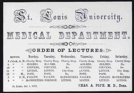 Course card, A. Litton, M.D., Professor of Chemistry and Pharmacy.
