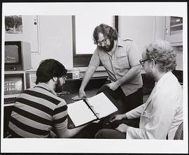 Steve Kane, Jonathan Mink, and an unidentified man, Division of Biology and Biomedical Sciences, ...