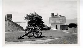 Exterior view of a wheeled cannon at Fort Mackinac, Mackinaw City, Michigan.