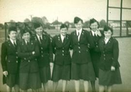 Group portrait of seven unidentified nurses, Fort Benning, Georgia.