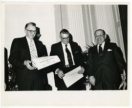 Willard M. Allen, Arthur W. Neilson, and dean Robert H. Felix at the St. Louis Medical Society an...