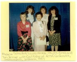 Group portrait of Melanie Schaufert, Laura Hinkle, Phyllis Ernst, Toni Palmer, and Gail Fidler at...