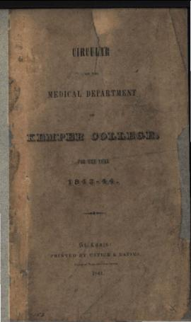 Circular of the Medical Department of Kemper College, 1843-1844.