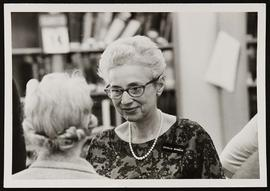 Estelle Brodman talking to Margaret G. Smith.
