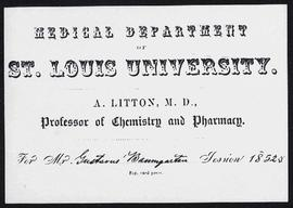 St. Louis University Medical Department order of lectures, session 1853-54.