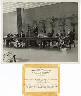 Man speaking from a podium at the dedication of the National Library of Medicine, Bethesda, Maryl...