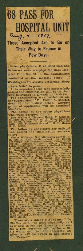 "Newspaper clipping titled, ""68 Pass for Hospital Unit: Those Accepted Are to Be on Their Way..."