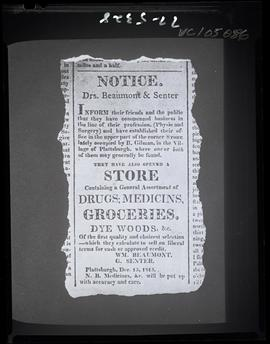 Newspaper clipping announcing the grand opening of a Pharmacy by Drs. Beaumont and Senter.