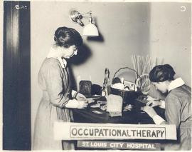 Two Occupational Therapists crafting in a workshop, St. Louis City Hospital.
