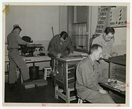 Patients woodworking in a workshop, Wakeman General and Convalescent Hospital, Camp Atterbury, In...