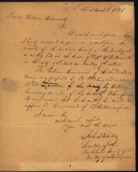 John S. Whiting [Detroit, MI] to W. Beaumont [Michilimackinac, MI] regarding: notice of election ...