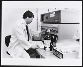 Marc Eichler in Dr. Gregory Grant's laboratory, Department of Biochemistry, Washington University...