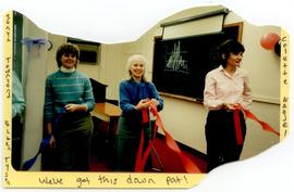 Sonya Townsend, Ellen Tyson, and Colette Nagel hanging streamers, Washington University School of...