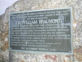 William Beaumont memorial plaque, Lebanon, Connecticut.
