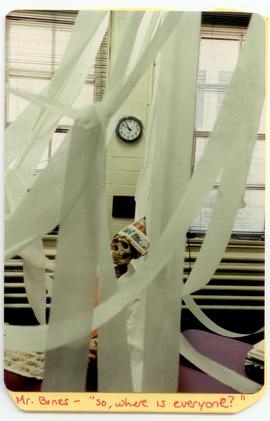 Interior view of Mary Ann Boyle's office filled with toilet paper streamers, Washington Universit...