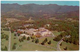 Postcard featuring an aerial view of Veterans' Administration Hospital, Oteen, North Carolina.