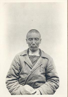 Anthropological front-facing portrait of a Kirghiz merchant, age 38, from Sven Hedin's Sino-Swedi...