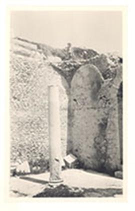 E.V. Cowdry, Jr. posing at the top of a wall in stone ruins, Dougga, Tunesia.