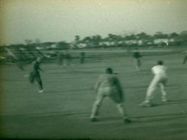 View of the officers baseball team playing on Doughboy Field, Fort Benning, Georgia.