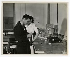 Occupational Therapy apprentice supervising a woodworking patient, Wakeman General and Convalesce...