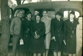 Group portrait of nurses and ambulance drivers, Fort Benning, Georgia.
