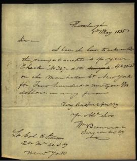 W. Beaumont [Plattsburgh, NY] to Lieutenant Colonel H. (Henry) Stanton, Quartermaster, U.S. Army ...