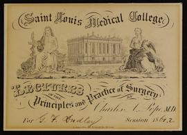 St. Louis Medical College course card, Lectures on the Principles and Practice of Surgery by Char...