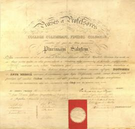 Honorary diploma awarded to W. Beaumont by Columbian College in Washington, DC. March 6, 1833.