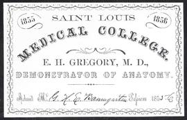 Course card, E.H. Gregory, M.D., Demonstrator of Anatomy.