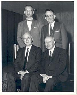 Group portrait of E.V. Cowdry, Dr. Papanicolaou, David Wood, and Emerson Day.
