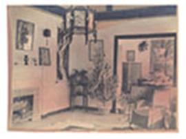 Interior view of a living room with a Christmas tree, furnished with chinoiserie.