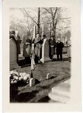 Group of men standing behind William Beaumont's grave, Bellefontaine Cemetary, St. Louis, Missouri.