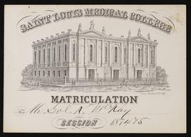 St. Louis Medical College Matriculation card for S.R. McKay.