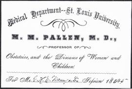 Course card, M.M. Pallen, M.D., Professor of Obstetrics, and the Diseases of Women and Children.